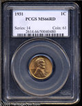 Lincoln Cents: , 1931 1C MS66 Red PCGS. An attractive Depression Era Cent thatexhibits vibrant golden-tan surfaces and remarkably smooth fi...