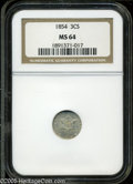 Three Cent Silver: , 1854 3CS MS64 NGC. Well struck and untoned, with a bright satinysheen and noticeable die clash marks (as struck) on both s...