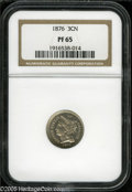 Proof Three Cent Nickels: , 1876 3CN PR65 NGC. Mostly brilliant with bright reflectivequalities. There is a dot (as struck) near the lower central bor...