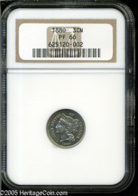 1880 3CN PR66 NGC. Pastel yellow-gold and ice-blue patina rolls over each side, and tiny specks of golden-brown dot the...