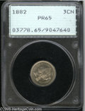 Proof Three Cent Nickels: , 1882 3CN PR65 PCGS. Freckles of light gray and pale-blue patina dot the proof surfaces. A couple of light flecks are noted ...