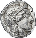 Ancients:Greek, Ancients: ATTICA. Athens. Ca. 454-404 BC. AR tetradrachm (24mm,17.20 gm, 11h). NGC Choice AU ★ 5/5 - 5/5....