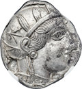 Ancients:Greek, Ancients: ATTICA. Athens. Ca. 454-404 BC. AR tetradrachm (24mm,17.17 gm, 9h). NGC MS 5/5 - 4/5....