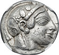 Ancients:Greek, Ancients: ATTICA. Athens. Ca. 475-465 BC. AR tetradrachm (24mm,17.18 gm, 10h). NGC Choice XF 5/5 - 2/5, Fine Style, test cut....