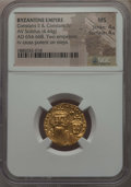 Ancients:Byzantine, Ancients: Constans II Pogonatus (AD 641-668), with Constantine IV.AV solidus (4.44 gm). NGC MS 4/5 - 4/5. ...