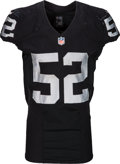 Football Collectibles:Uniforms, 2015 Khalil Mack Game Worn, Unwashed Oakland Raiders Jersey - Used 10/11 vs. Broncos (Photo Matched). . ...