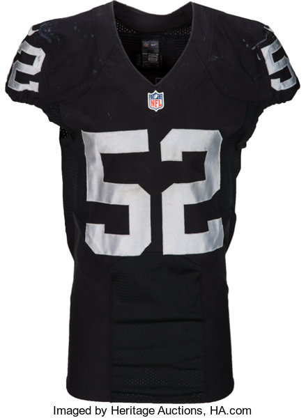 new product 5d86a 05c7f 2015 Khalil Mack Game Worn, Unwashed Oakland Raiders Jersey ...