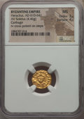Ancients:Byzantine, Ancients: Heraclius (AD 610-641). AV solidus (4.46 gm). NGC MS3/5 - 4/5. ...