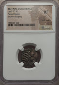 Ancients:Celtic, Ancients: BRITAIN. Durotriges. Ca. 65-20 BC. BIplated stater.NGC XF, core visible. ...