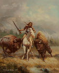 Fine Art - Painting, American:Contemporary   (1950 to present)  , F. Thomas Quigley (American, b. 1928). Buffalo Hunt, 1983.Oil on canvas. 24 x 20 inches (61.0 x 50.8 cm). Signed and da...