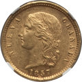 Colombia, Colombia: Republic gold 5 Pesos 1857-B AU58 NGC,...