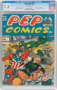 Pep Comics #32 (MLJ, 1942) CGC VF- 7.5 Off-white pages
