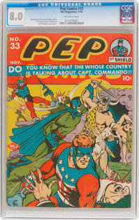 Pep Comics #33 (MLJ, 1942) CGC VF 8.0 Off-white pages