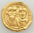 Ancients:Byzantine, Ancients: Heraclius (AD 610-641) and Heraclius Constantine (AD613-641). AV solidus (4.28 gm). Choice VF, clipped,overstruck....