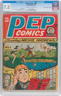 "Pep Comics #49 Davis Crippen (""D"" Copy) Pedigree (MLJ, 1944) CGC VF- 7.5 Off-white to white pages"