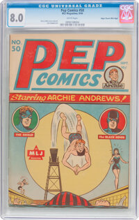 Pep Comics #50 Mile High Pedigree (MLJ, 1944) CGC VF 8.0 White pages
