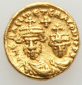 Ancients:Byzantine, Ancients: Heraclius (AD 610-641) and Heraclius Constantine (AD613-641). AV solidus (4.48 gm). About Uncirculated....