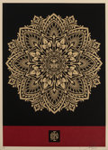 Prints & Multiples, Shepard Fairey (b. 1970). Mandala Ornament (Red/Gold), 2010. Screenprint in colors on speckled paper. 24 x 18 inches (61...