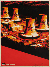 Shepard Fairey (b. 1970) Visual Pollution Smoke Stacks, 2001 Screenprint in colors on speckled paper
