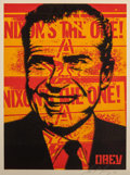 Prints & Multiples, Shepard Fairey (b. 1970). Nixon Poster, 2001. Screenprint in colors on speckled paper. 24 x 18 inches (61.0 x 45.7 cm) (...