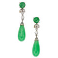 Estate Jewelry:Earrings, Jadite Jade, Diamond, White Gold Earrings . ...