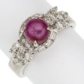Estate Jewelry:Rings, Star Ruby, Diamond, White Gold Ring. ...