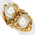 Estate Jewelry:Rings, South Sea Cultured Pearl, Colored Diamond, Gold Ring. ...