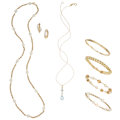 Estate Jewelry:Lots, Cultured Pearl, Aquamarine, Diamond, Gold Jewelry. ... (Total: 6 Items)