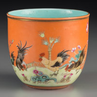 A Chinese Enameled Porcelain Chicken Cup, Republic Period, circa 1912-1949 Marks: Qianlong fanggu seal and of a la
