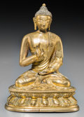 Asian:Chinese, A Sino-Tibetan Gilt Bronze Figure of Buddha Shakyamuni, 18thcentury. 5 inches high (12.7 cm). ...