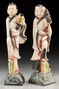 Asian:Chinese, A Pair of Chinese Polychromed Soapstone Carvings of Two Immortals,Qing Dynasty, 19th century. 12-1/8 inches high (30.8 cm) ...(Total: 2 Items)