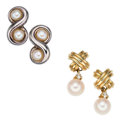 Estate Jewelry:Earrings, Cultured Pearl, Diamond, Gold, Sterling Silver Earrings, Tiffany & Co. . ... (Total: 2 Items)