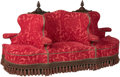 Furniture : French, A Napoleon III Upholstered Canapé à Confidante Sofa, circa 1870.43-1/2 h x 80 w x 27 d inches (110.5 x 203.2 x 68.6 cm). ...