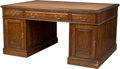 Furniture : English, An English George III-Style Oak Partner's Desk, 19th century. 30-1/4 h x 60 w x 42 d inches (76.8 x 152.4 x 106.7 cm). ...