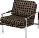 A Pair of Milo Baughman for Thayer Coggin Upholstered and Chromed Steel Armchairs, circa 1965 and later 29-1/2 h x 28-1/...