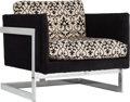 Furniture , Milo Baughman for Thayer Coggin Upholstered and Chromed Steel T-Back Chair, circa 1960 and later. 24-1/2 h x 29 ...