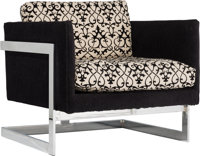 Milo Baughman for Thayer Coggin Upholstered and Chromed Steel T-Back Chair, circa 19