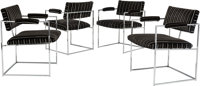 A Group of Four Milo Baughman for Thayer Coggin Upholstered and Chromed Steel Armchairs, circa 1965 and later 29-1