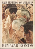 "Movie Posters:War, Norman Rockwell Four Freedoms Propaganda Poster (U.S. GovernmentPrinting Office, 1943). Poster (20"" X 28"") ""Save Freedom of..."