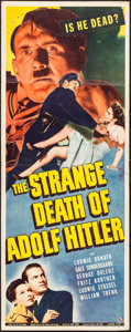"Movie Posters:War, The Strange Death of Adolf Hitler (Universal, 1943). Insert (14"" X36""). War.. ..."