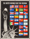 "Movie Posters:War, World War II Propaganda (U.S. Government Printing Office, 1942).OWI Poster No. 19 (22"" X 28"") ""The United Nations Fight for..."