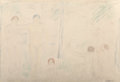 Fine Art - Work on Paper:Drawing, Abraham Walkowitz (American, 1880-1965). Untitled . Crayonand pencil on paper. 12-1/2 x 18-1/2 inches (31.8 x 47.0 cm) ...