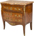 Furniture : French, A Louis XV-Style Gilt Bronze Mounted Parquetry Commode wit...
