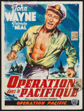 "Movie Posters:War, Operation Pacific & Other Lot (Warner Brothers, 1951). Trimmed Belgian (14"" X 18.75"") & One Sheet (27"" X 41""). War.. ... (Total: 2 Items)"