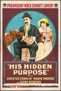 "Movie Posters:Comedy, His Hidden Purpose (Paramount, 1918). One Sheet (27"" X 41"").Action.. ..."