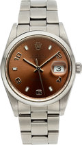 Timepieces, Rolex Date Men's Bronze Dial Stainless Steel Watch Ref 15200 circa 2002. ...
