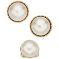 Estate Jewelry:Suites, Mabé Pearl, Gold Jewelry. ... (Total: 2 Items)