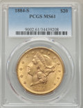 Liberty Double Eagles: , 1884-S $20 MS61 PCGS. PCGS Population: (684/1408). NGC Census: (1052/841). CDN: $1,480 Whsle. Bid for problem-free NGC/PCGS...