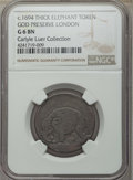 (1694) 1/2 P London Elephant Token, Thick Planchet, Good 6 NGC. Hodder 2-B, W-12040, R.2. Ex: Carlyle Luer Collection...
