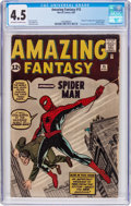 Silver Age (1956-1969):Superhero, Amazing Fantasy #15 (Marvel, 1962) CGC VG+ 4.5 Off-white to white pages....